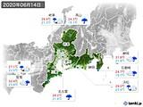 2020年06月14日の東海地方の実況天気