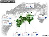 2020年06月14日の四国地方の実況天気