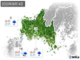 2020年06月14日の山口県の実況天気