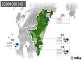 2020年06月14日の宮崎県の実況天気