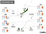 2020年06月14日の沖縄県の実況天気