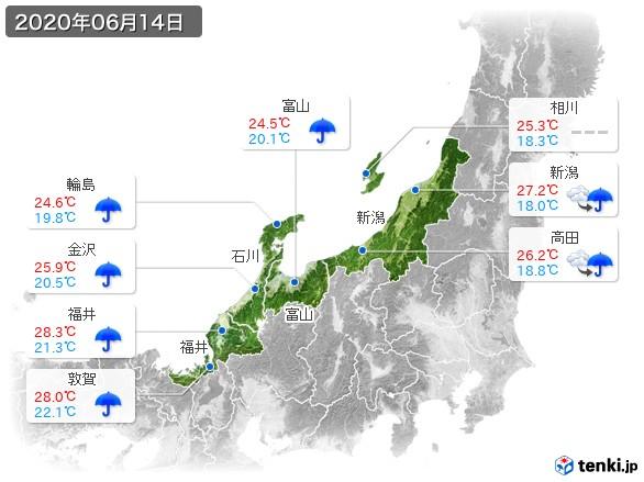 北陸地方(2020年06月14日の天気
