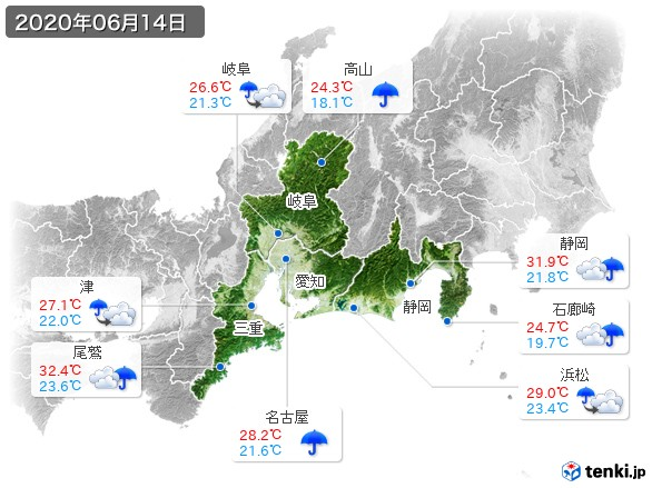 東海地方(2020年06月14日の天気