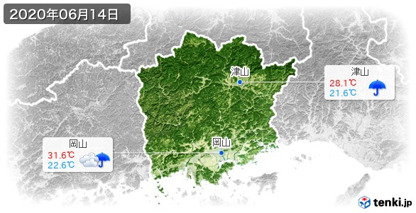 岡山県(2020年06月14日の天気