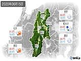 2020年06月15日の長野県の実況天気