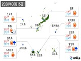 2020年06月15日の沖縄県の実況天気