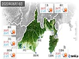 2020年06月16日の静岡県の実況天気