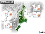2020年06月16日の三重県の実況天気