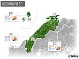 2020年06月16日の島根県の実況天気