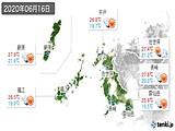 2020年06月16日の長崎県の実況天気