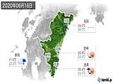 2020年06月16日の宮崎県の実況天気