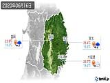 2020年06月16日の岩手県の実況天気