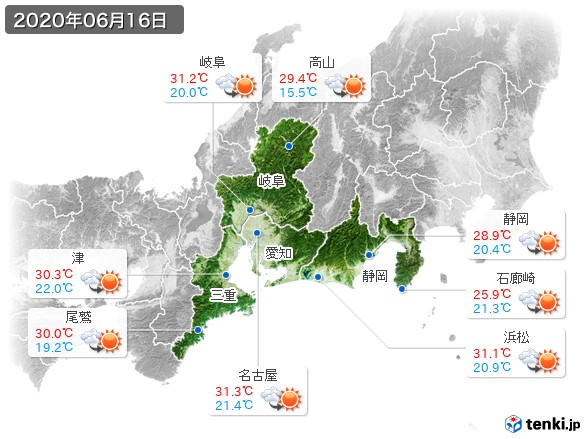 東海地方(2020年06月16日の天気
