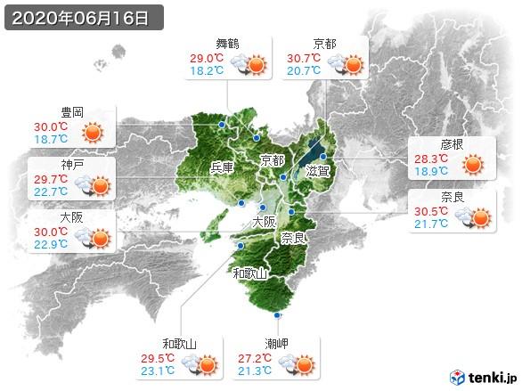 近畿地方(2020年06月16日の天気