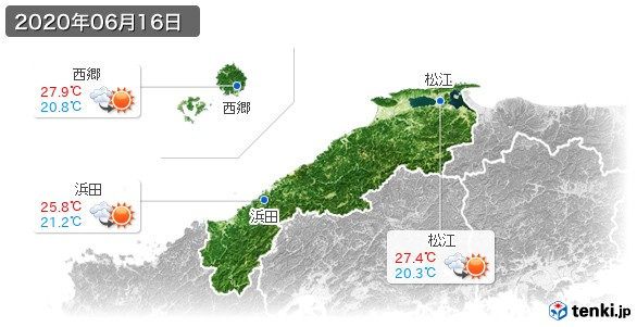 島根県(2020年06月16日の天気