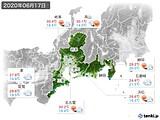 2020年06月17日の東海地方の実況天気