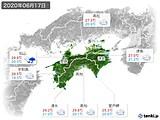 2020年06月17日の四国地方の実況天気