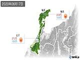 2020年06月17日の石川県の実況天気