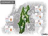 2020年06月17日の長野県の実況天気