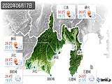 2020年06月17日の静岡県の実況天気