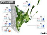2020年06月17日の道東の実況天気