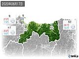 2020年06月17日の鳥取県の実況天気