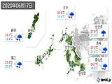 2020年06月17日の長崎県の実況天気