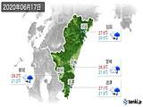 2020年06月17日の宮崎県の実況天気