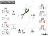 2020年06月17日の沖縄県の実況天気