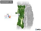 2020年06月17日の秋田県の実況天気