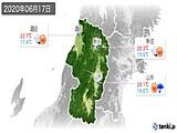2020年06月17日の山形県の実況天気