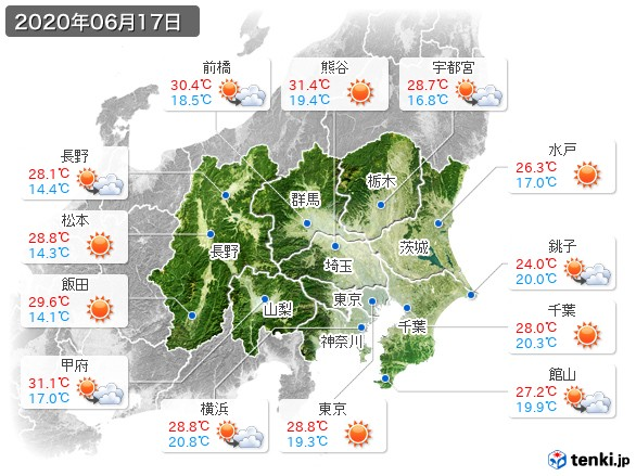 関東・甲信地方(2020年06月17日の天気