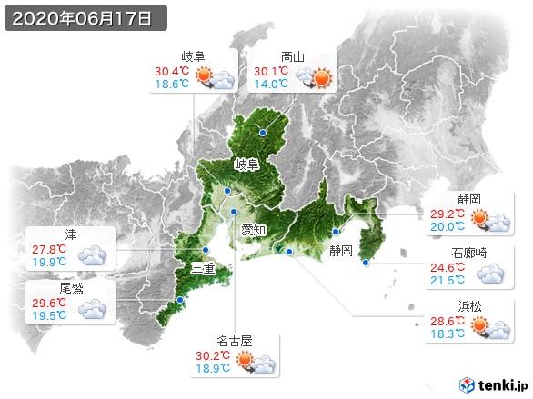 東海地方(2020年06月17日の天気
