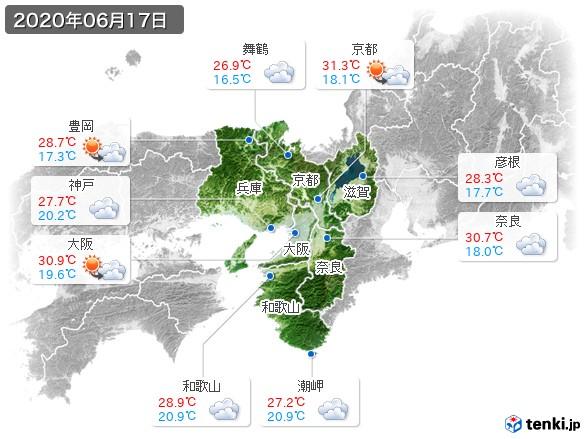 近畿地方(2020年06月17日の天気