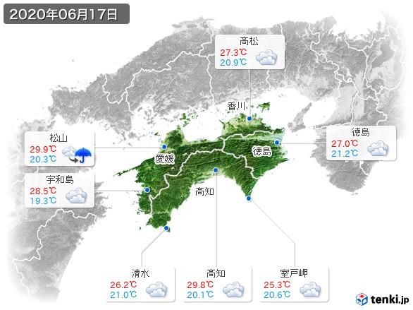 四国地方(2020年06月17日の天気