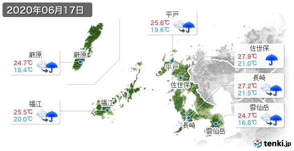 長崎県(2020年06月17日の天気