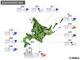 2020年06月18日の北海道地方の実況天気