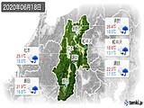 2020年06月18日の長野県の実況天気