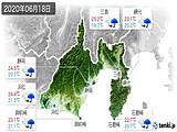 2020年06月18日の静岡県の実況天気