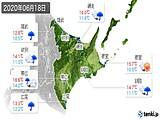 2020年06月18日の道東の実況天気