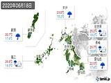 2020年06月18日の長崎県の実況天気