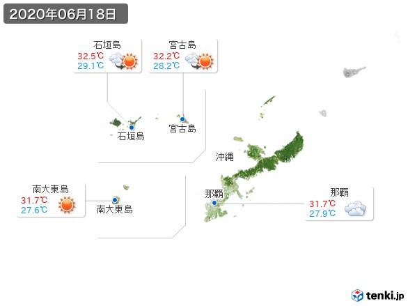 沖縄地方(2020年06月18日の天気