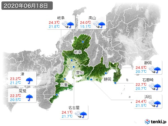 東海地方(2020年06月18日の天気