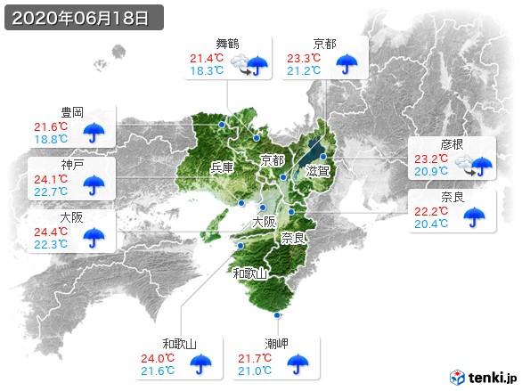 近畿地方(2020年06月18日の天気