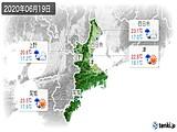 2020年06月19日の三重県の実況天気