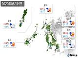 2020年06月19日の長崎県の実況天気