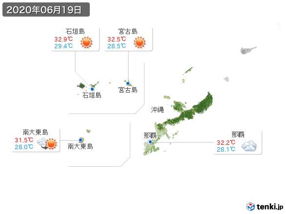 沖縄地方(2020年06月19日の天気