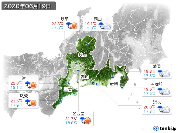 東海地方(2020年06月19日の天気