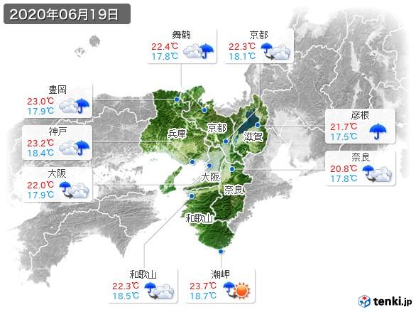 近畿地方(2020年06月19日の天気