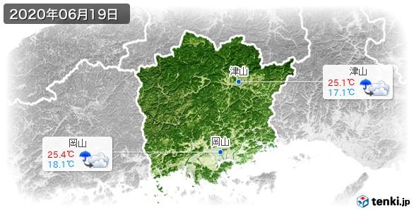 岡山県(2020年06月19日の天気